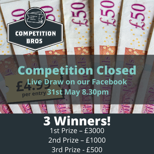 £3000 - with 2nd & 3rd place prizes!